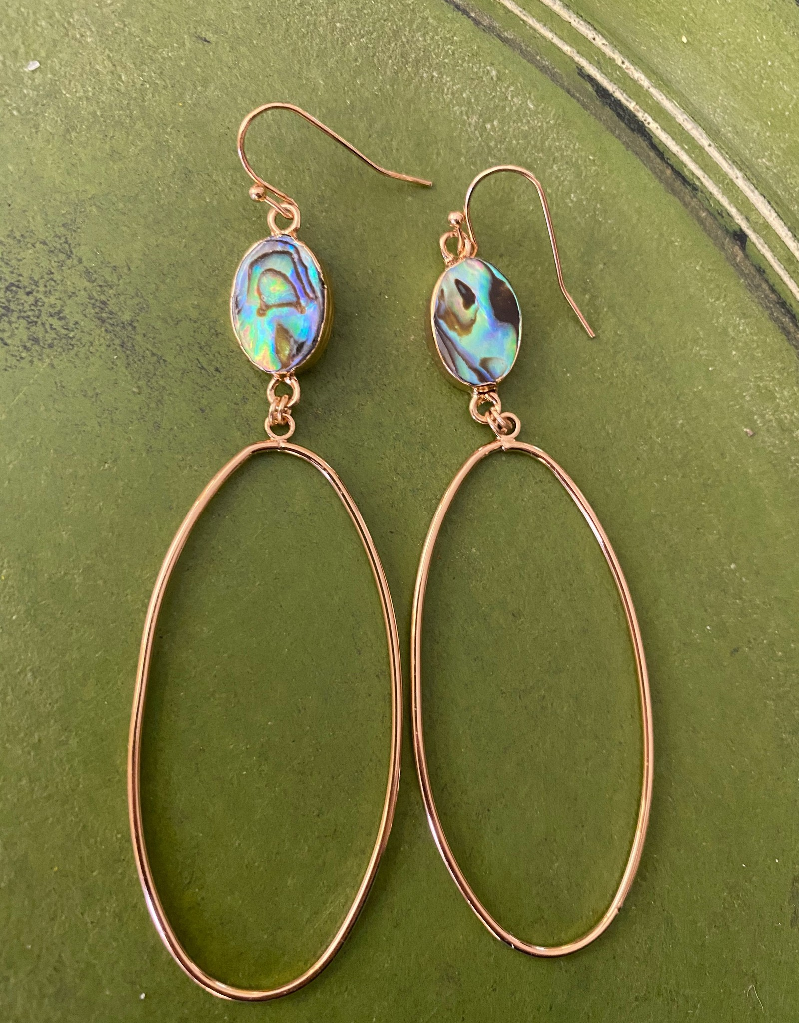 Wink Moonstone and Gold Oval Earrings