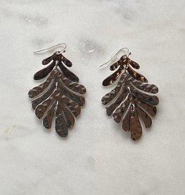 Wink Silver Hammered Leaf Earrings