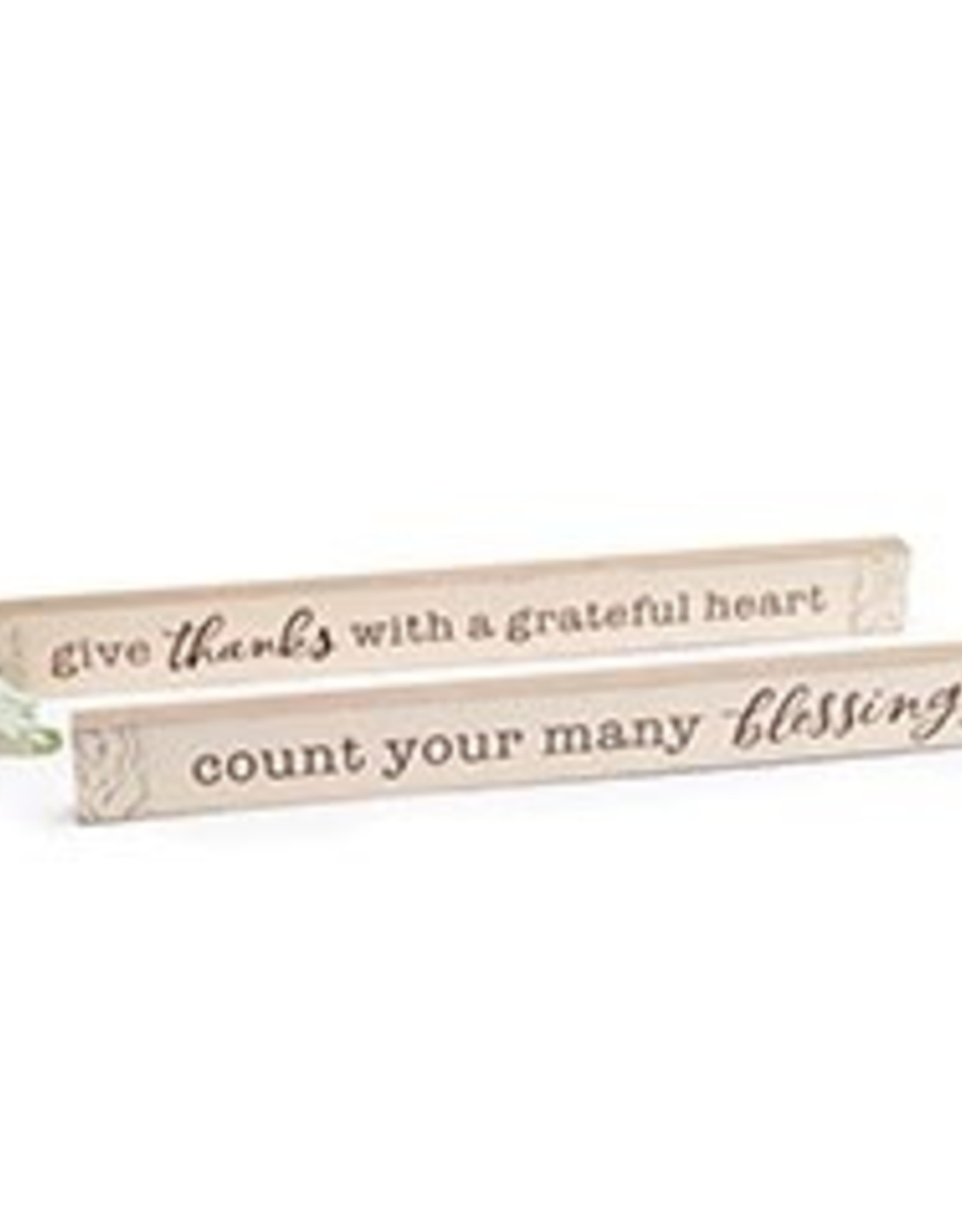 Wink Shelf Sitter Distressed Cream Tin/Give Thanks with a Grateful Heart