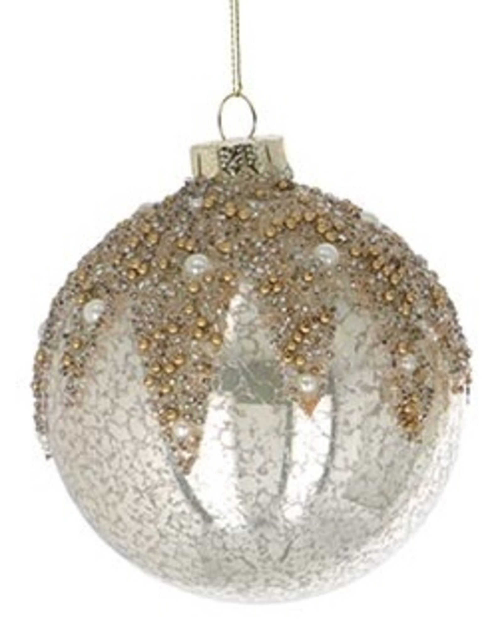 Wink Round Glass Mercury Ornament with Glitter and Pearls