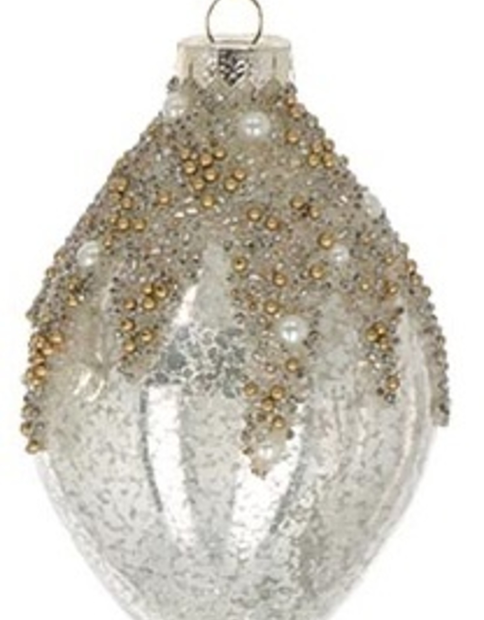 Wink Tear Drop Glass Mercury Ornament with Glitter and Pearls
