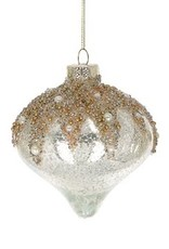 Wink Round Tear Drop Glass Mercury Ornament with Glitter and Pearls