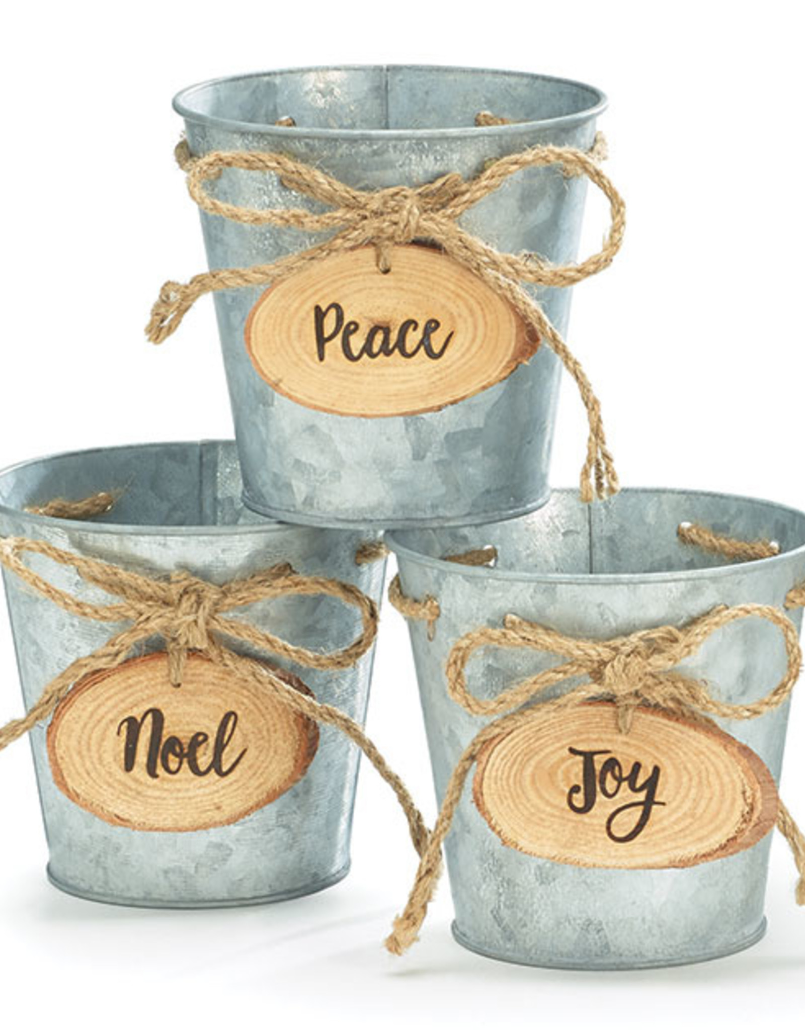 """Wink 4"""" Tin Pot Cover with Wooden Noel Tag"""