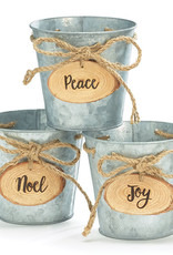 """Wink 4"""" Tin Pot Cover with Wooden Peace Tag"""