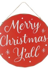 Wink Merry Christmas Y'all Round Wall Hanger