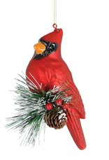 Wink Glass Cardinal With Greenery Ornament