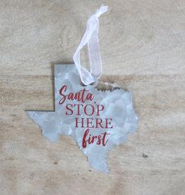Wink Galvanized Santa Ornament