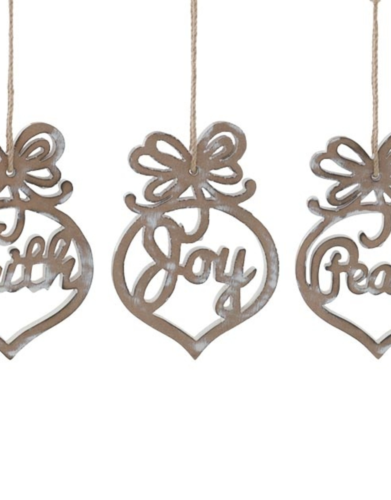 Wink Assorted Antiqued Wooden Ornaments