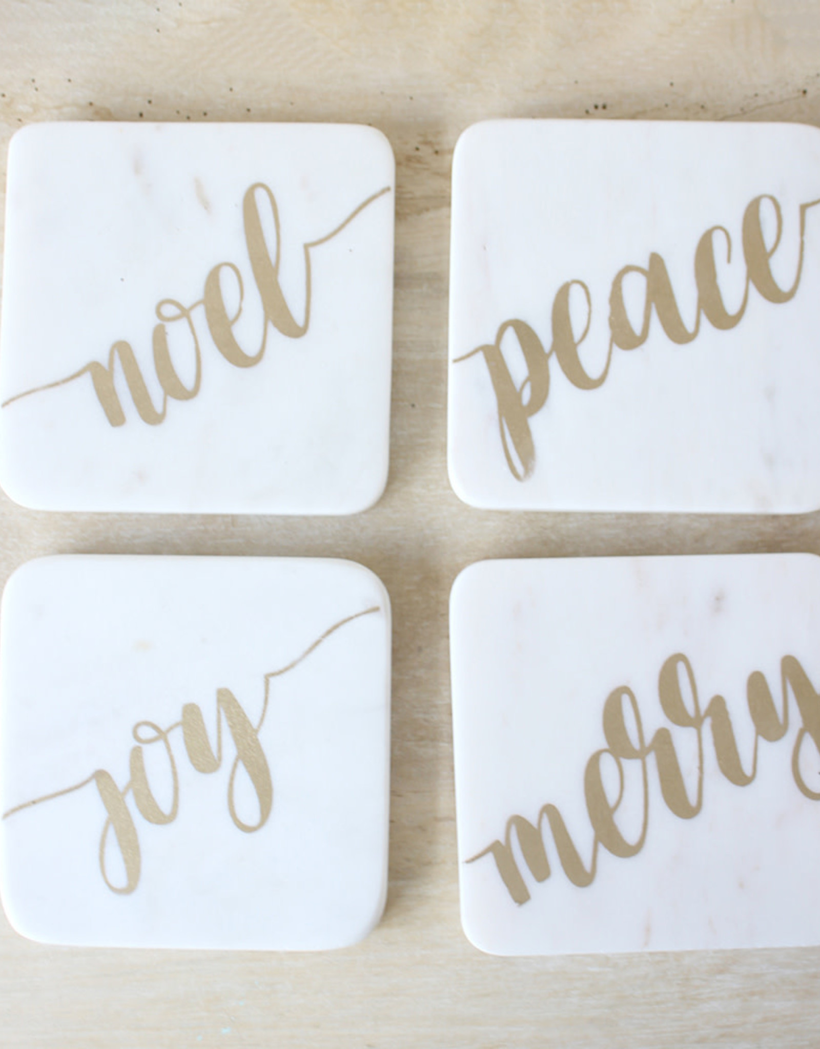Wink Christmas Tidings Marble Coasters White/Gold