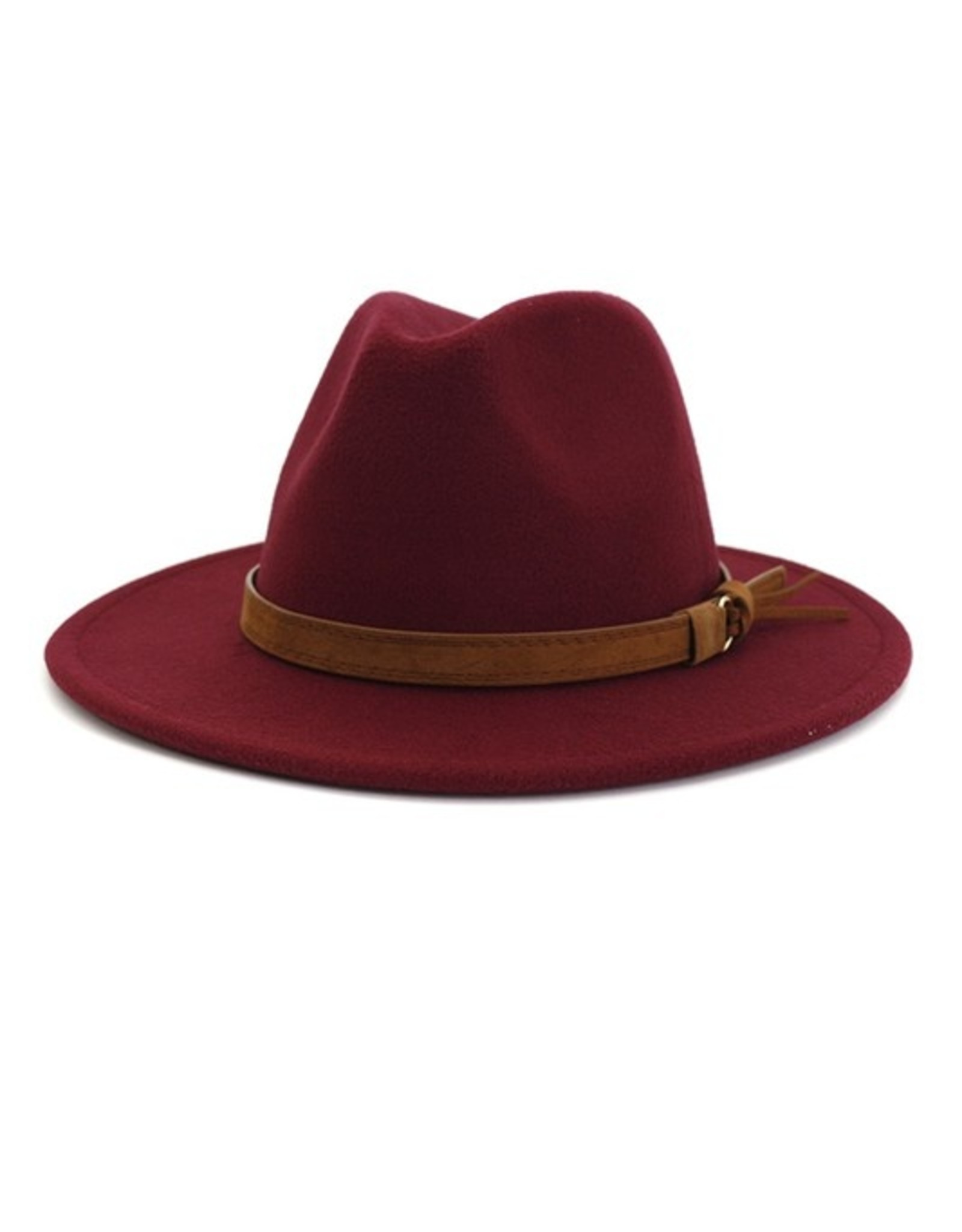 Wink Flat Brim Hat with Brown Hat Band