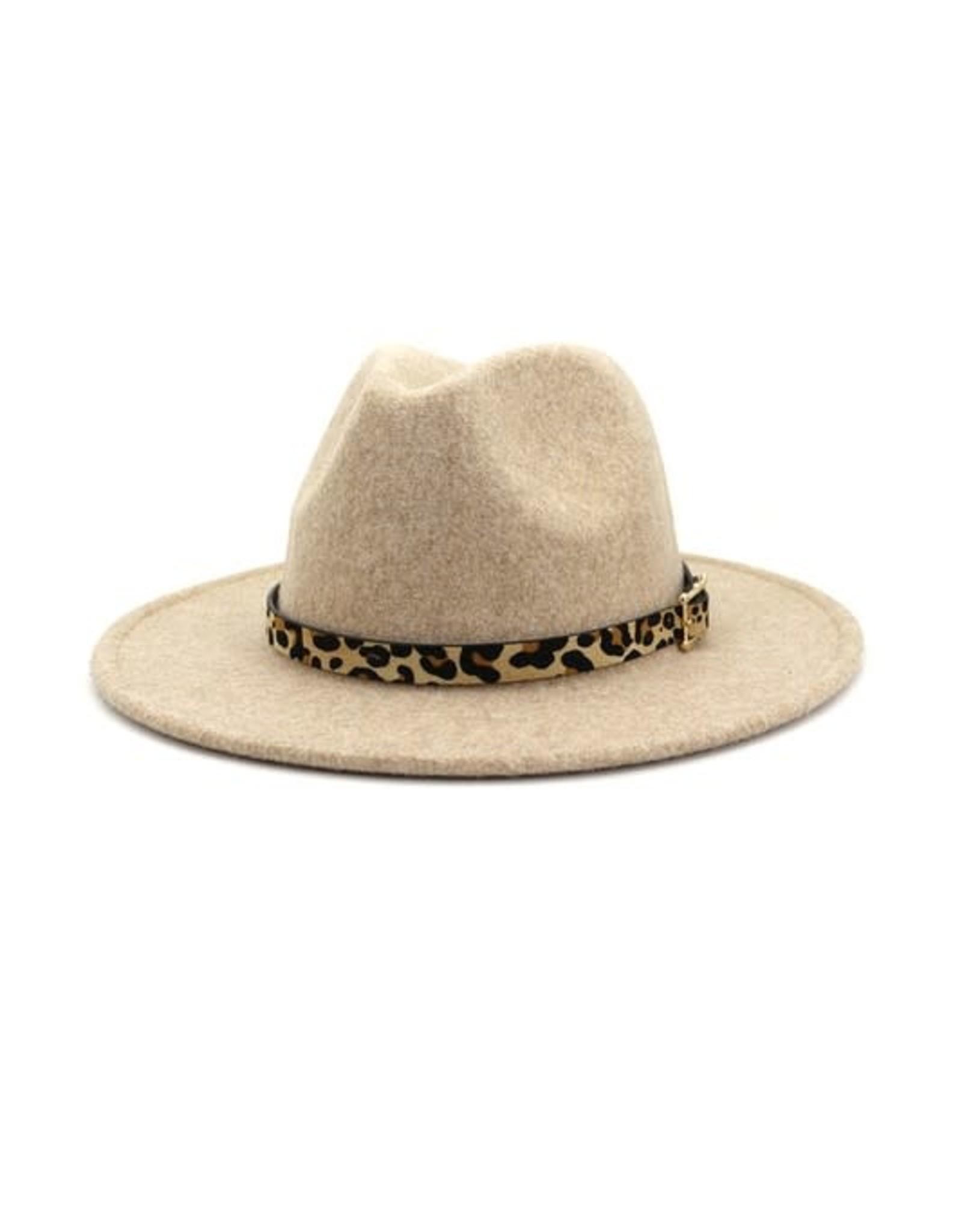 Wink Flat Brim Hat with Leopard Print Hat Band