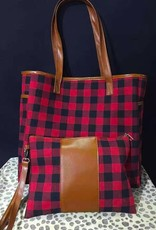 Buffalo Plaid-Tote Bag and Wristlet Set