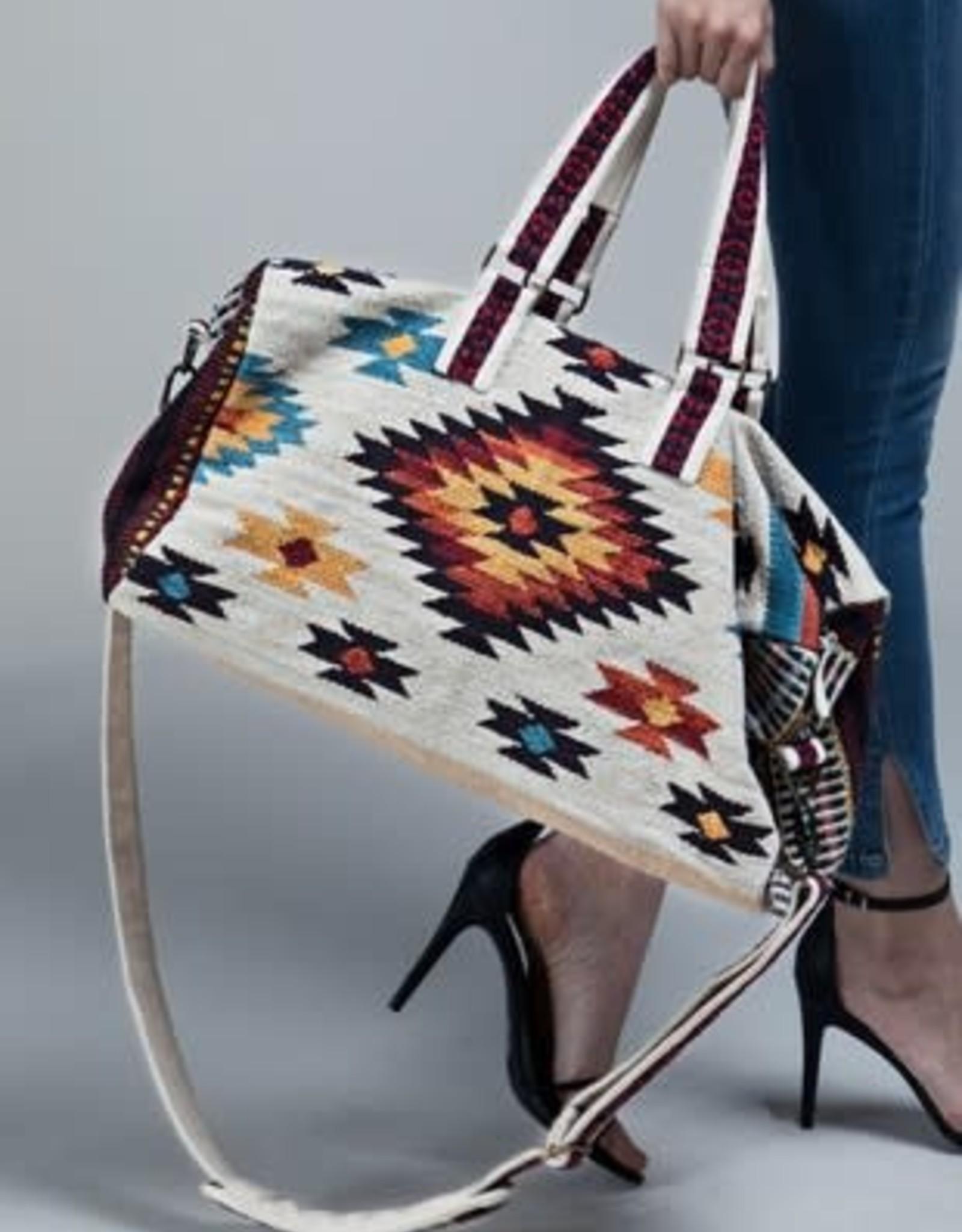 Wink Handmade Ethnic Navajo Pattern Duffel-Ivory