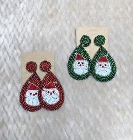 Wink Santa Beaded Drop Earrings