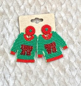 Wink Beaded Holiday Sweater Earrings