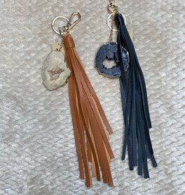 Wink Faux Leather Geo'd Keychain