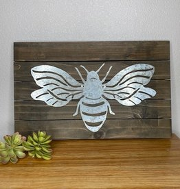 Wink Metal and Wood Bee Sign