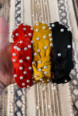 Wink Satin Knot Headband with Pearls