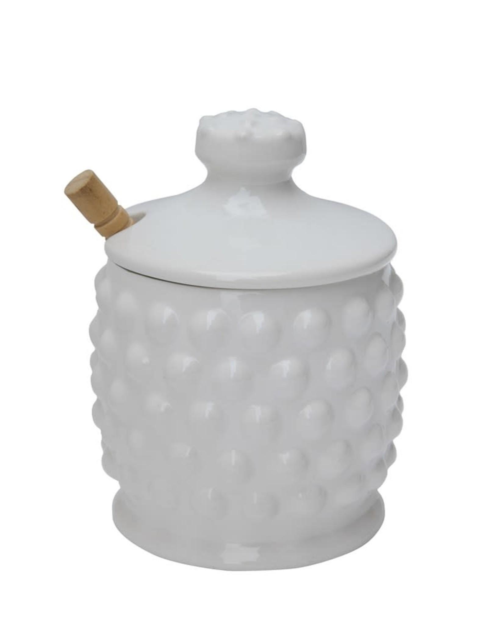 Wink Hobnail Honey Jar with Dipper