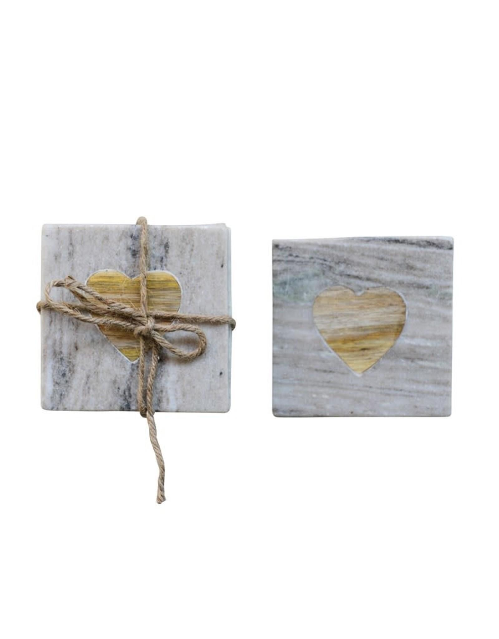 Wink Marble and Acacia Heart Coaster Set