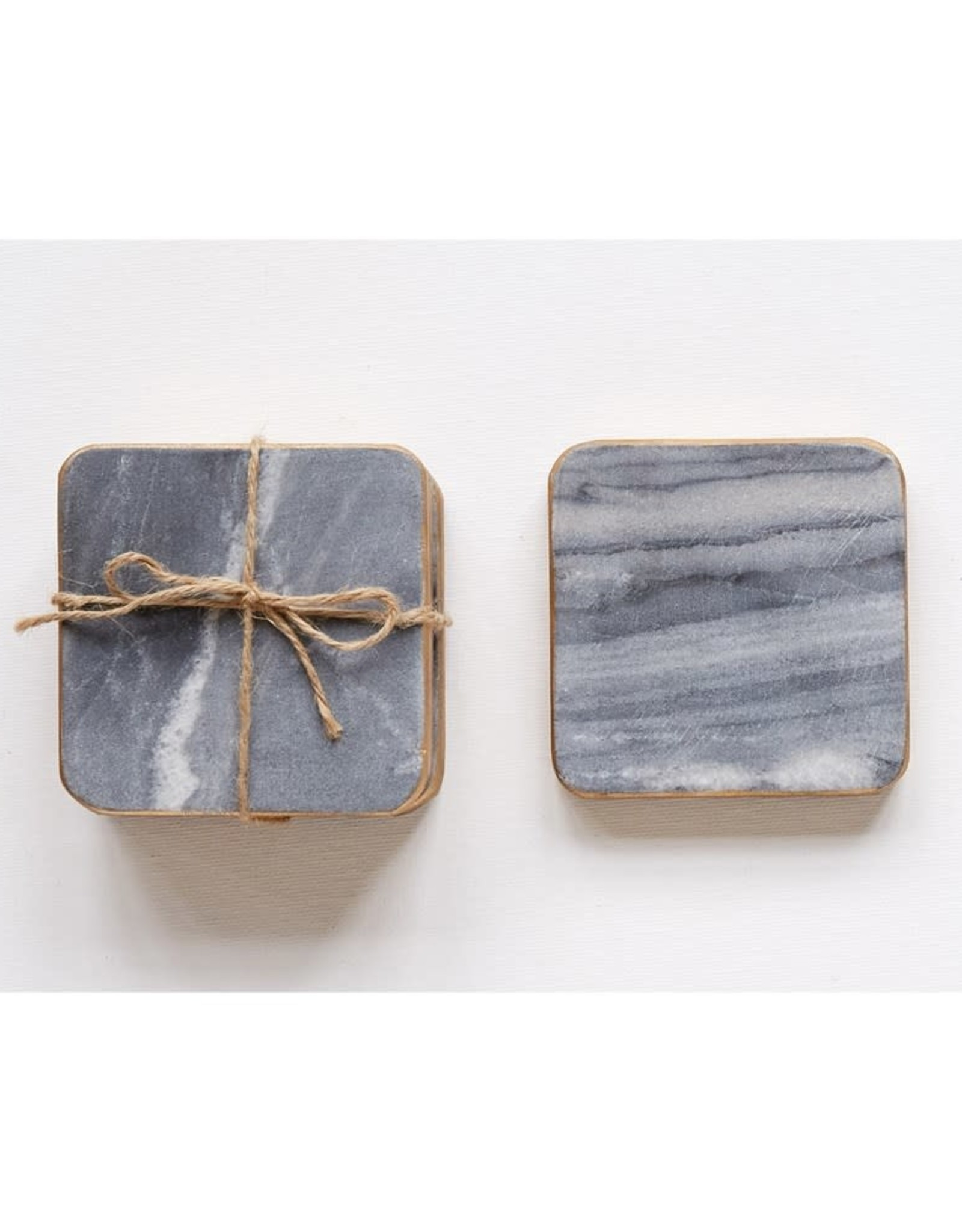 Wink Marble Coaster Set with Gold Edge