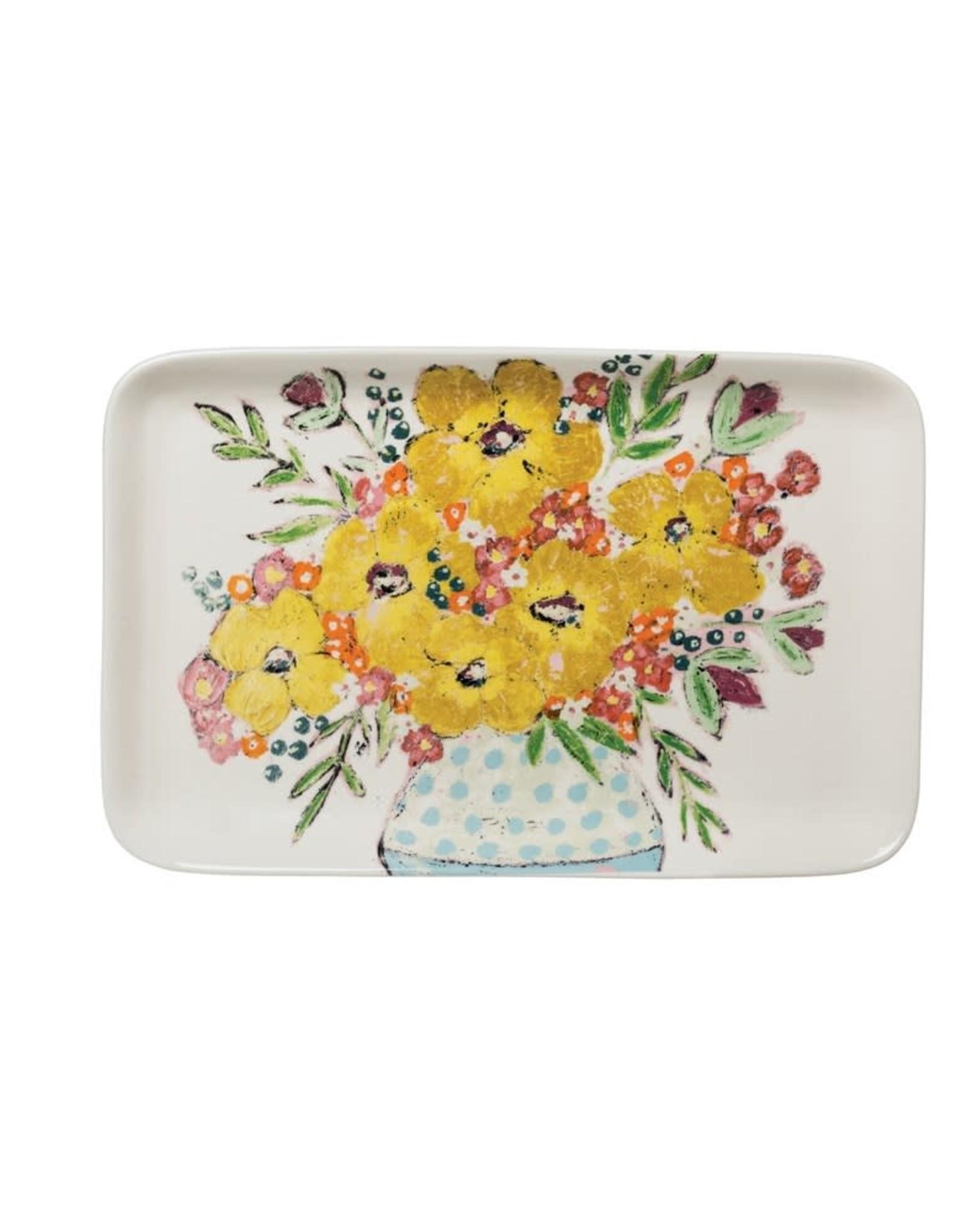Wink Stoneware Platter w/Flowers