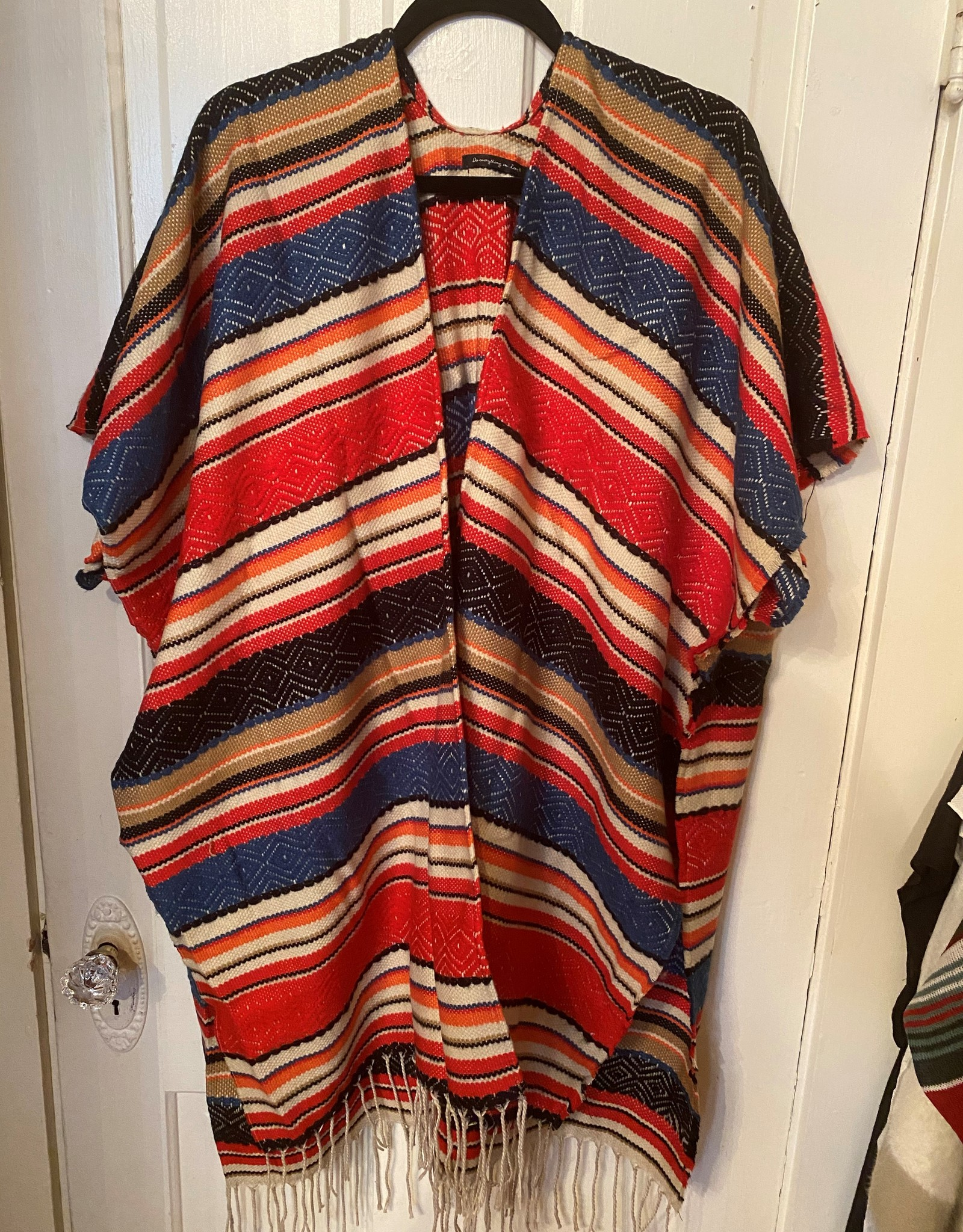 Wink Striped Blanket Kimono Red/Black