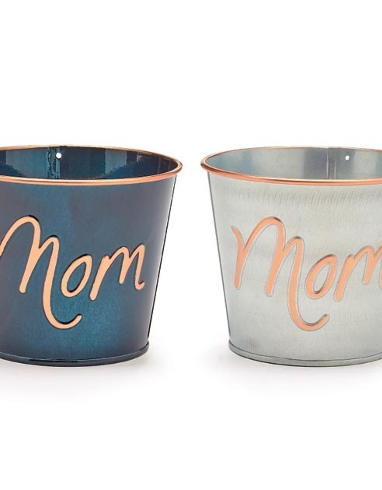 "Wink Pot Cover 4"" Mom Metallic Tin"