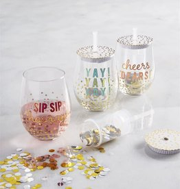 Wink Confetti Wine Glass