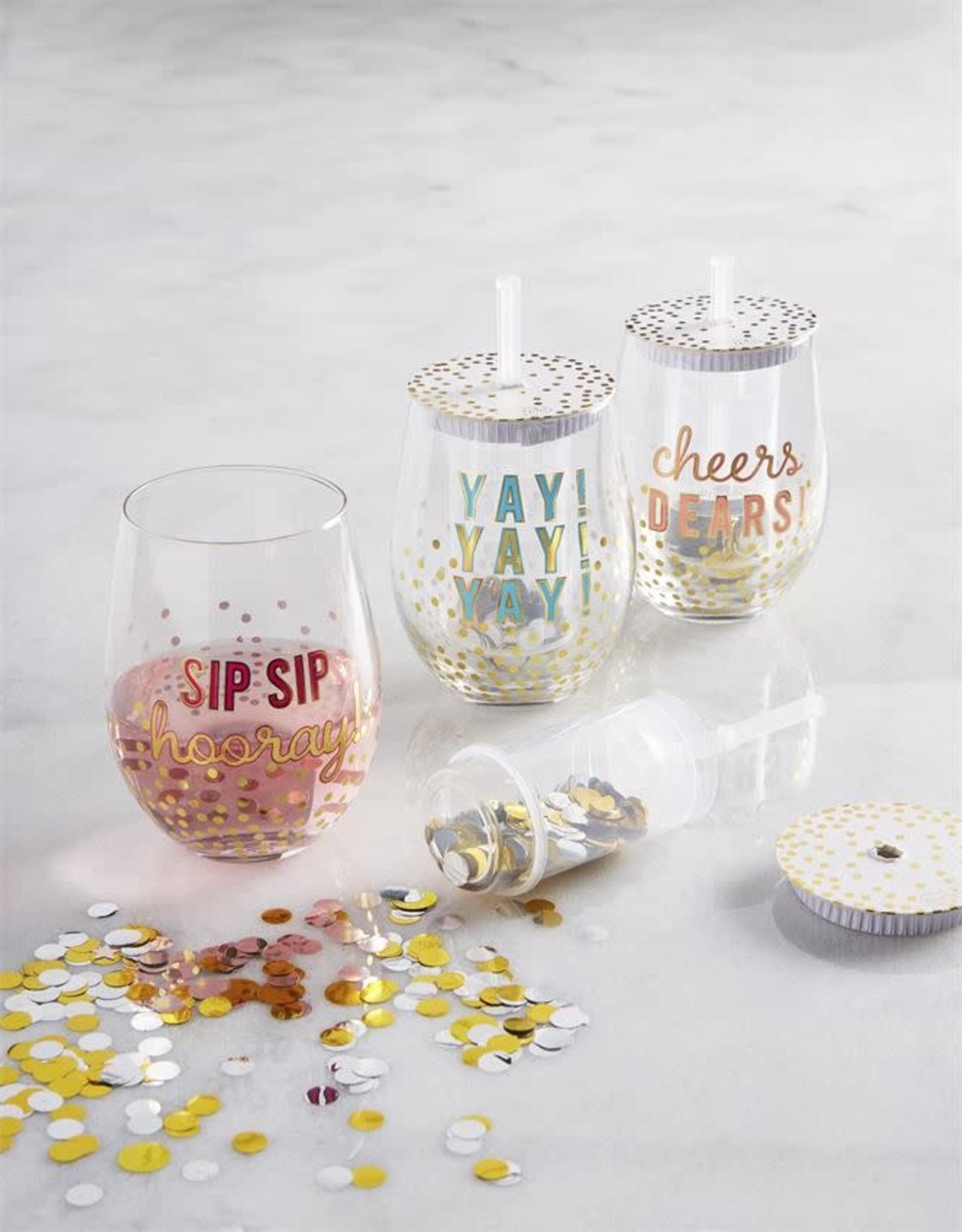 Wink Confetti Wine Glass