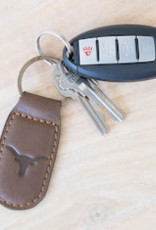 Wink Longhorn Leather Embossed Keychain