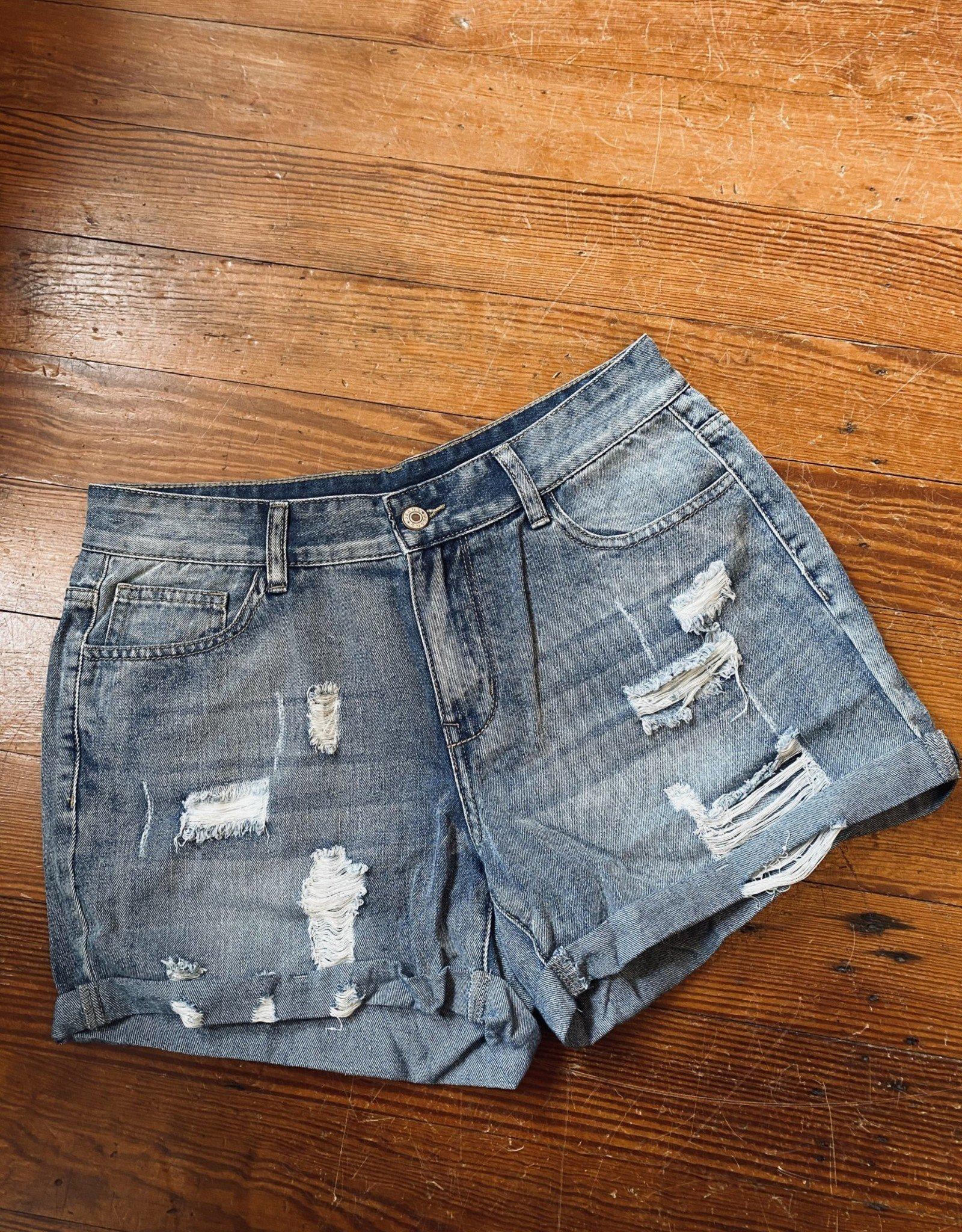 Wink Distressed Denim Shorts