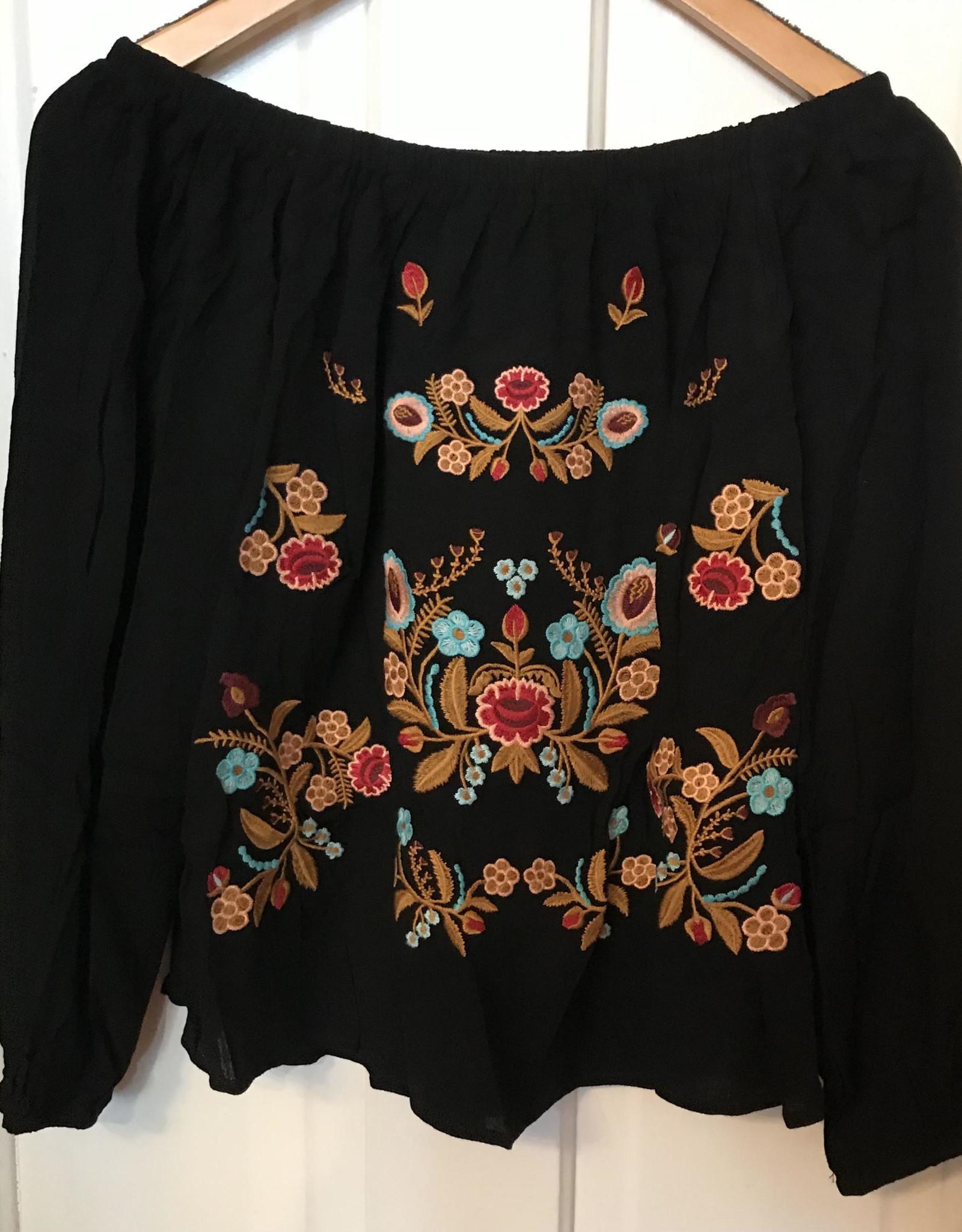 Wink Embroidered Off the Shoulder Blouse