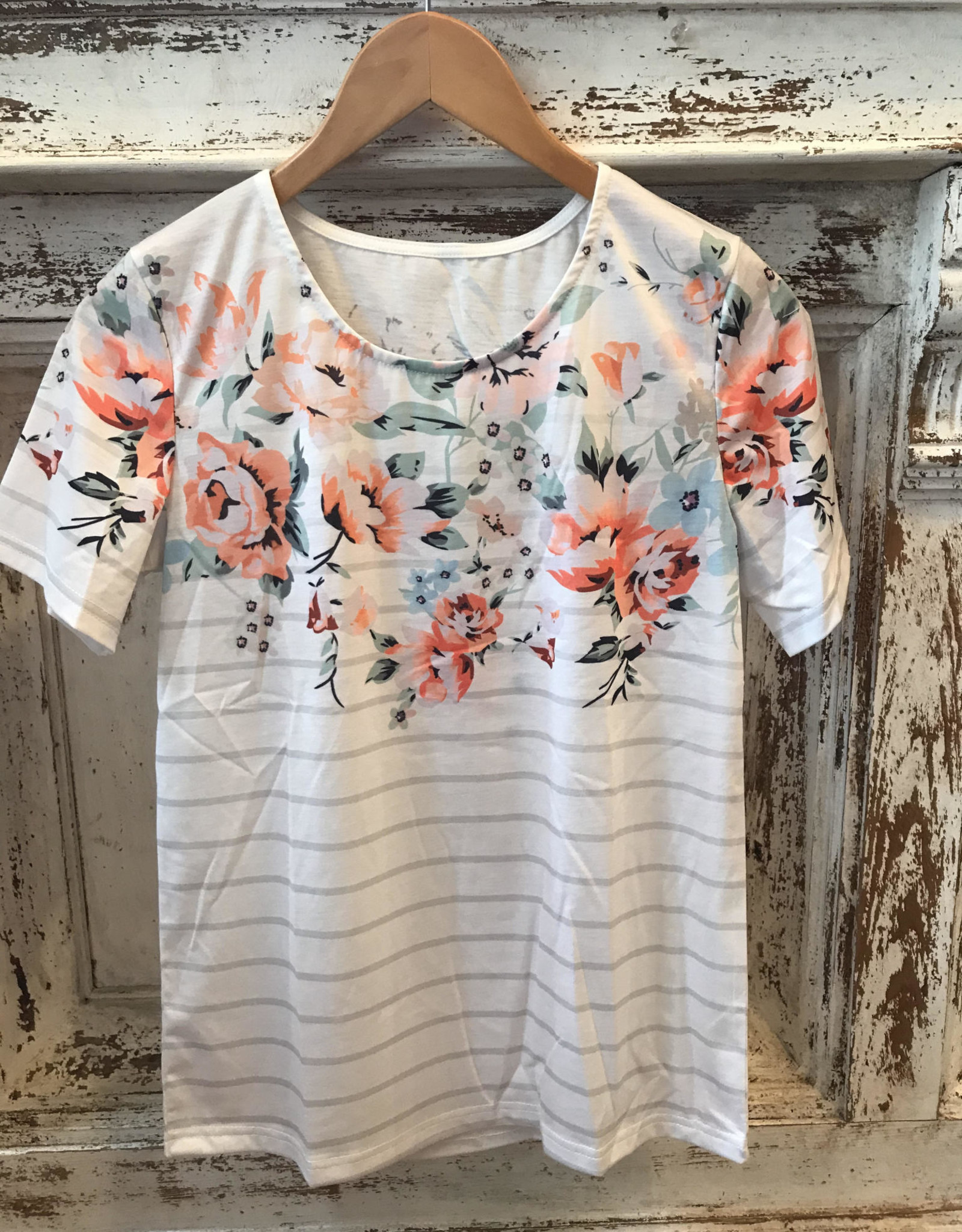 Wink Floral and Stripe Short Sleeve