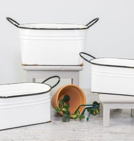 Wink White Antique Tub Planter - Small