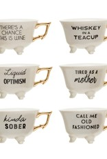 Wink Funny Teacups with Gold Handle