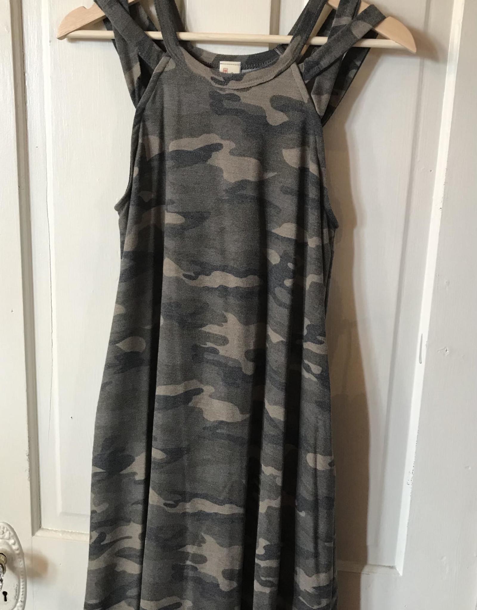 Wink Cross Shoulder Strappy Camo Dress