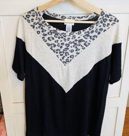 Wink Jersey Knit Color Block Top w/Leopard Yoke