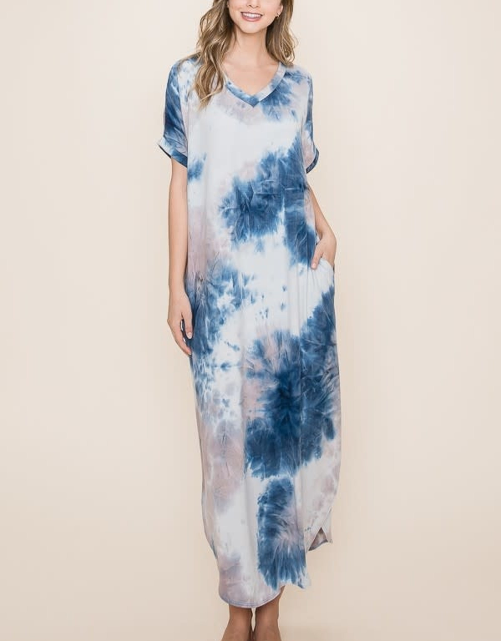 Wink Navy/Grey tie-dye maxi dress