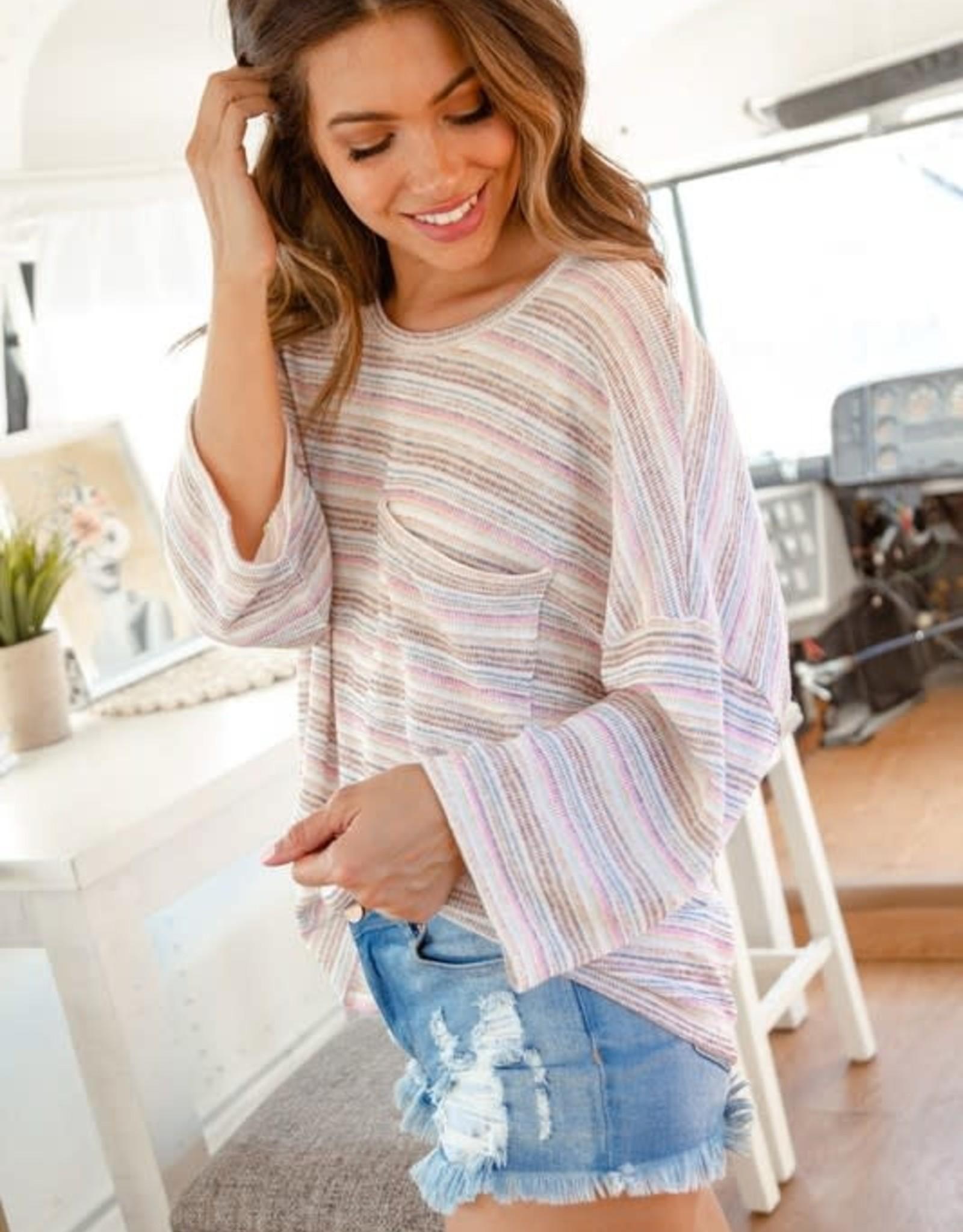 Wink 3/4 Length Sleeve Multi Striped Knit Pocket Top