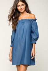 Wink Off the Shoulder Chambray Dress