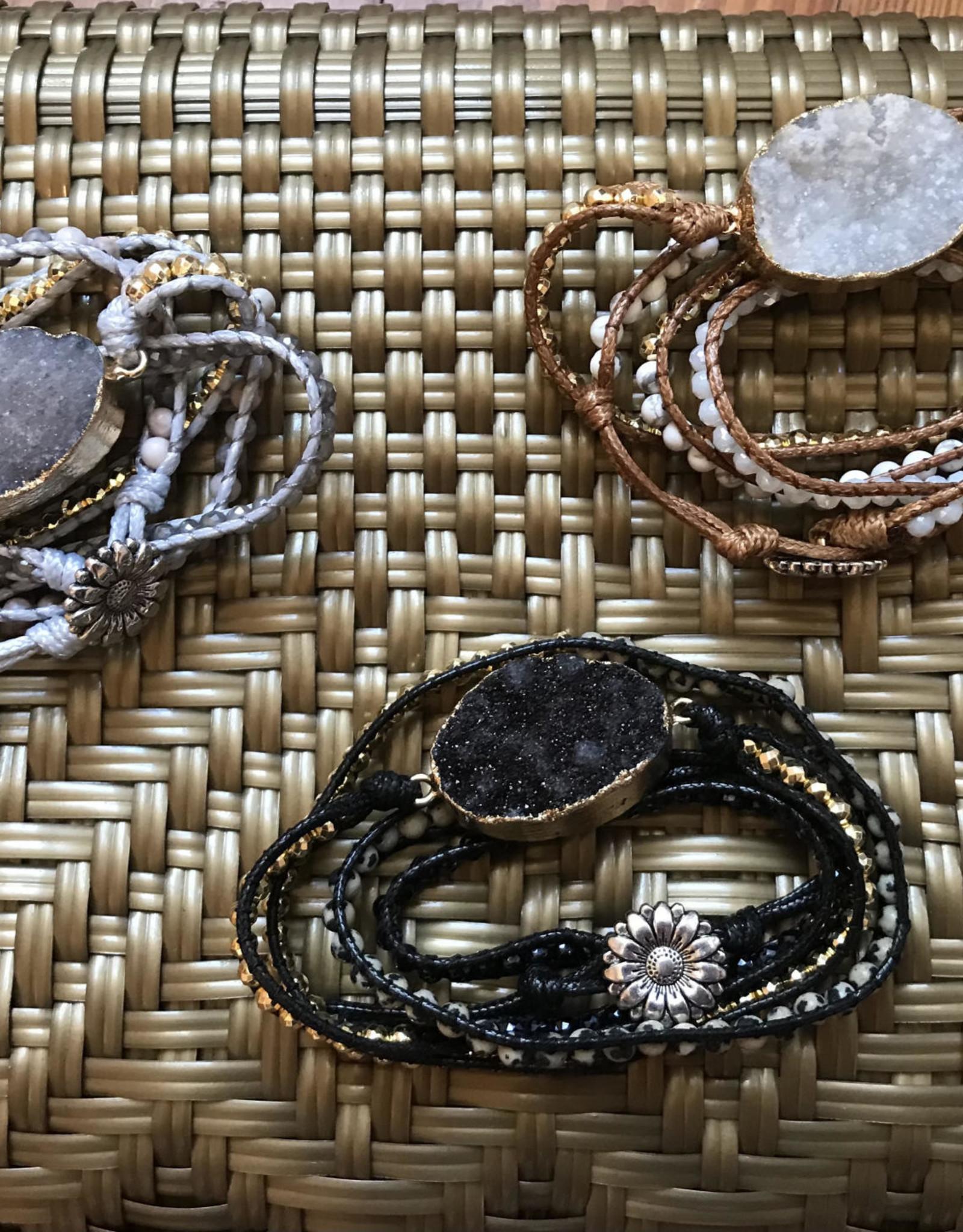 Wink Electroplated Druzy Stone Wrap Bracelet