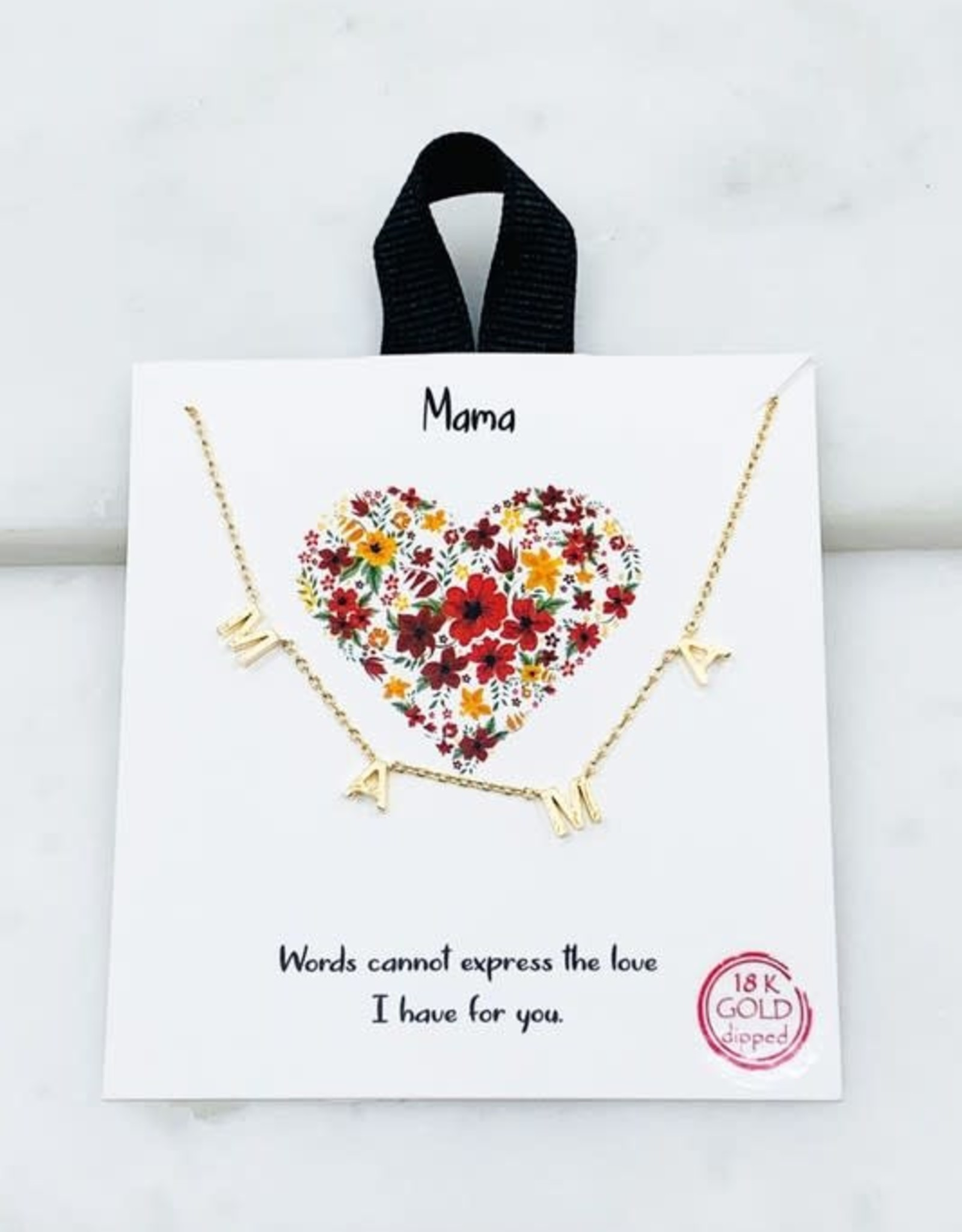 Wink Mama Dipped Brass Necklace-18""