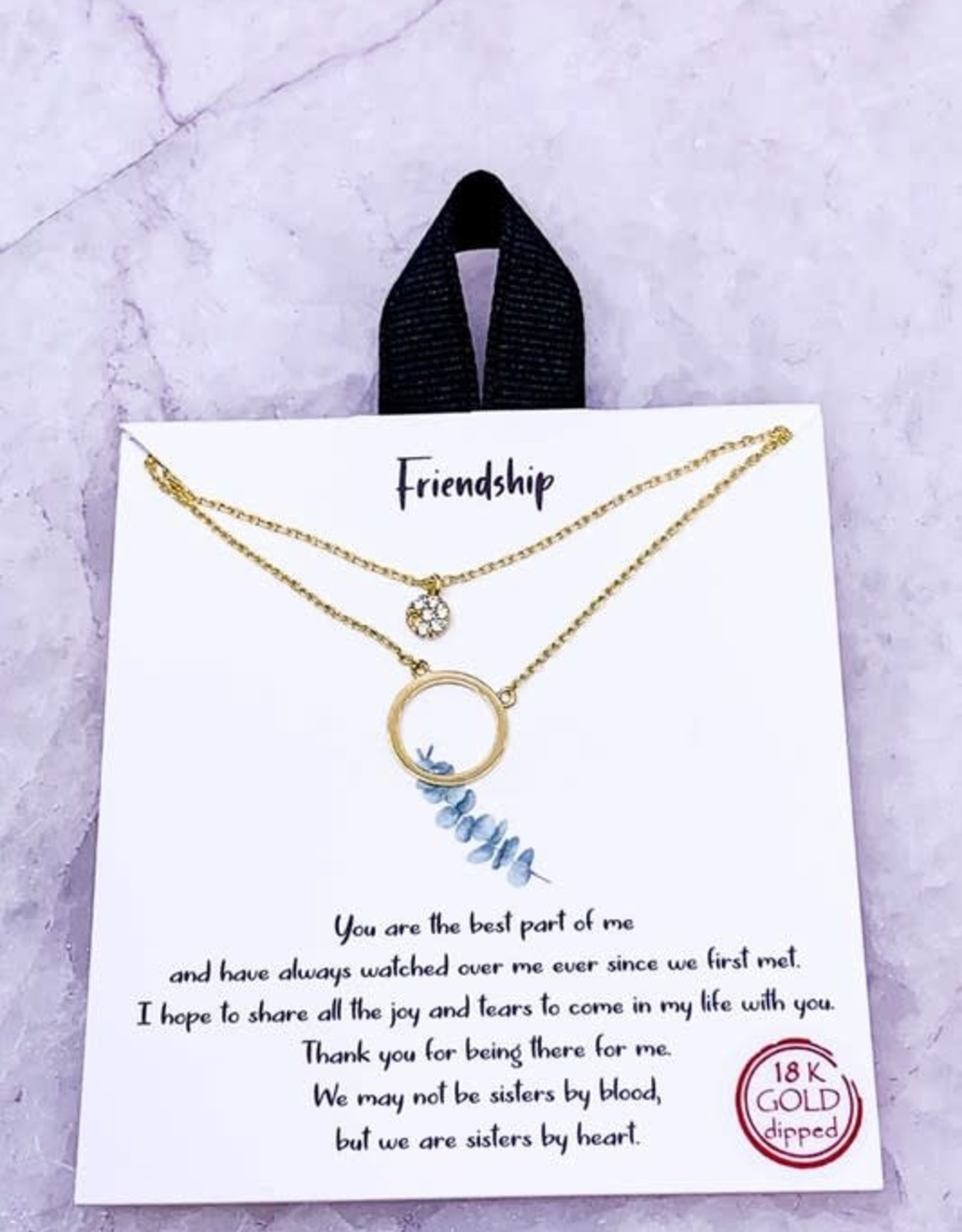 """Wink Layered Ring Pendant Friendship Necklace-18"""""""
