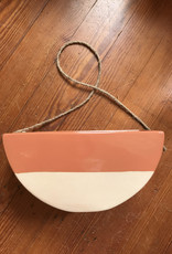 Wink Half Circle Hanging Planter-Brown Accent