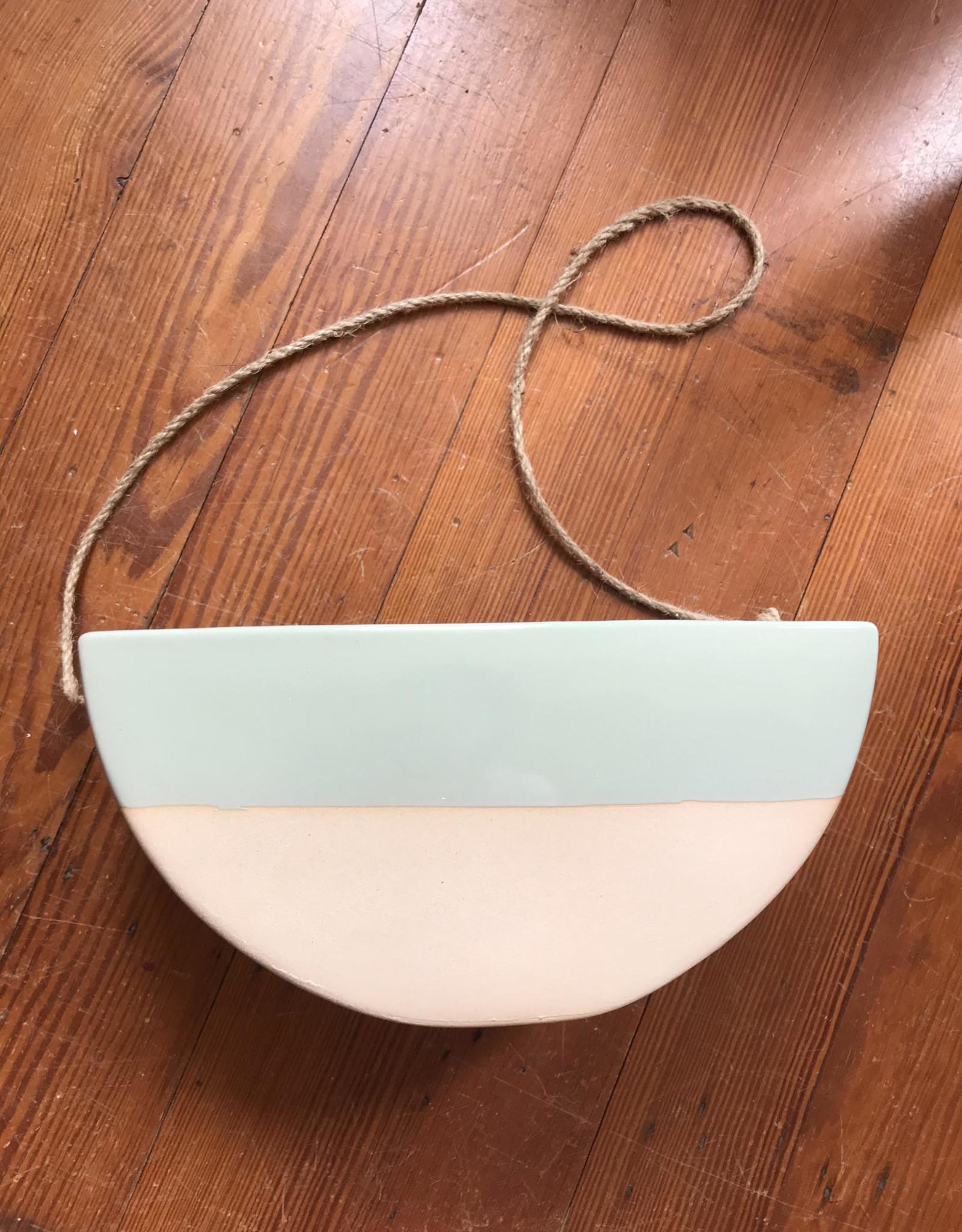 Wink Half Circle Hanging Planter-Mint Accent