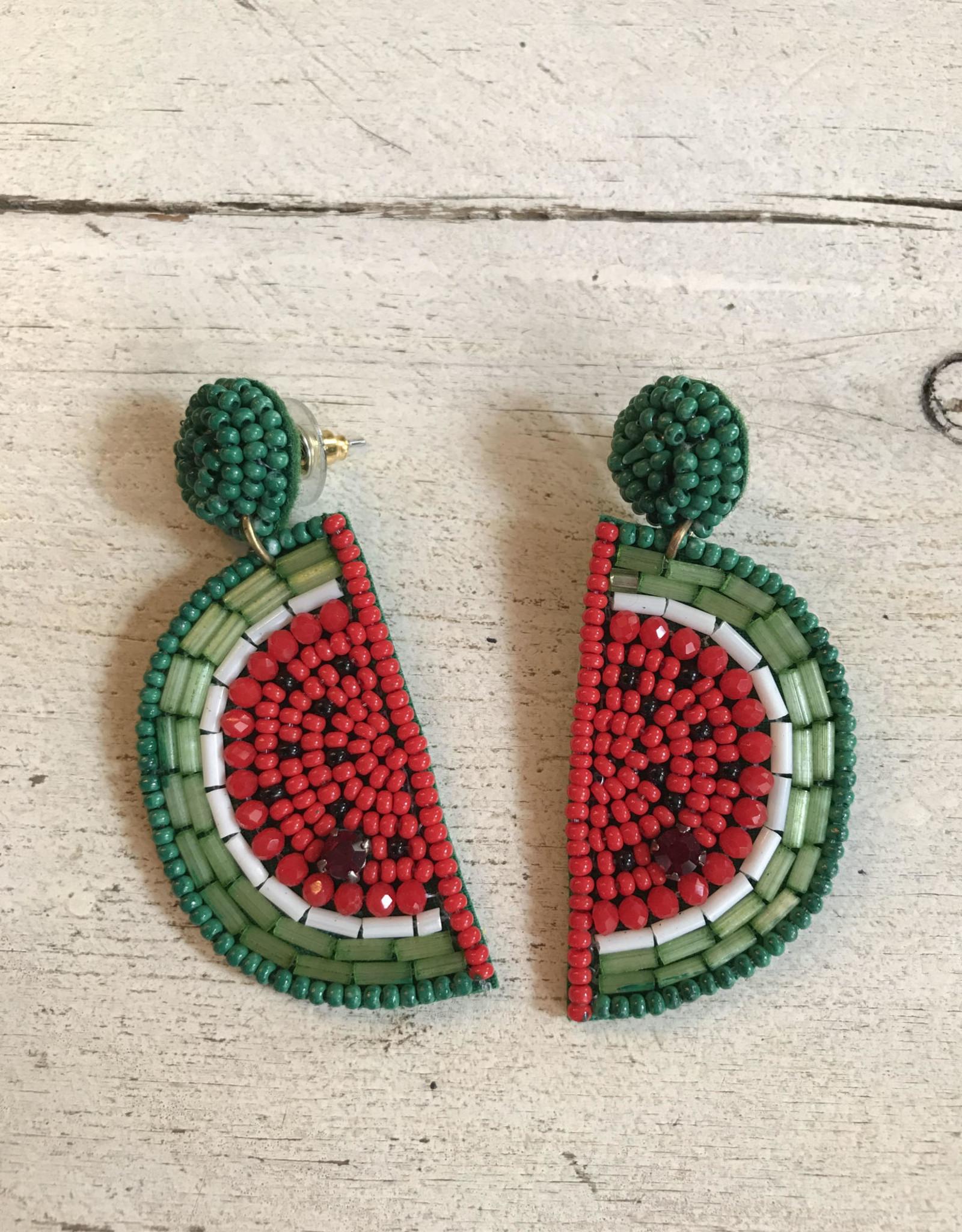 Wink Watermelon Seed Bead Dangle Earrings