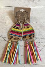 Wink Leopard Tear Drop Earrings w  Colorful Tassles