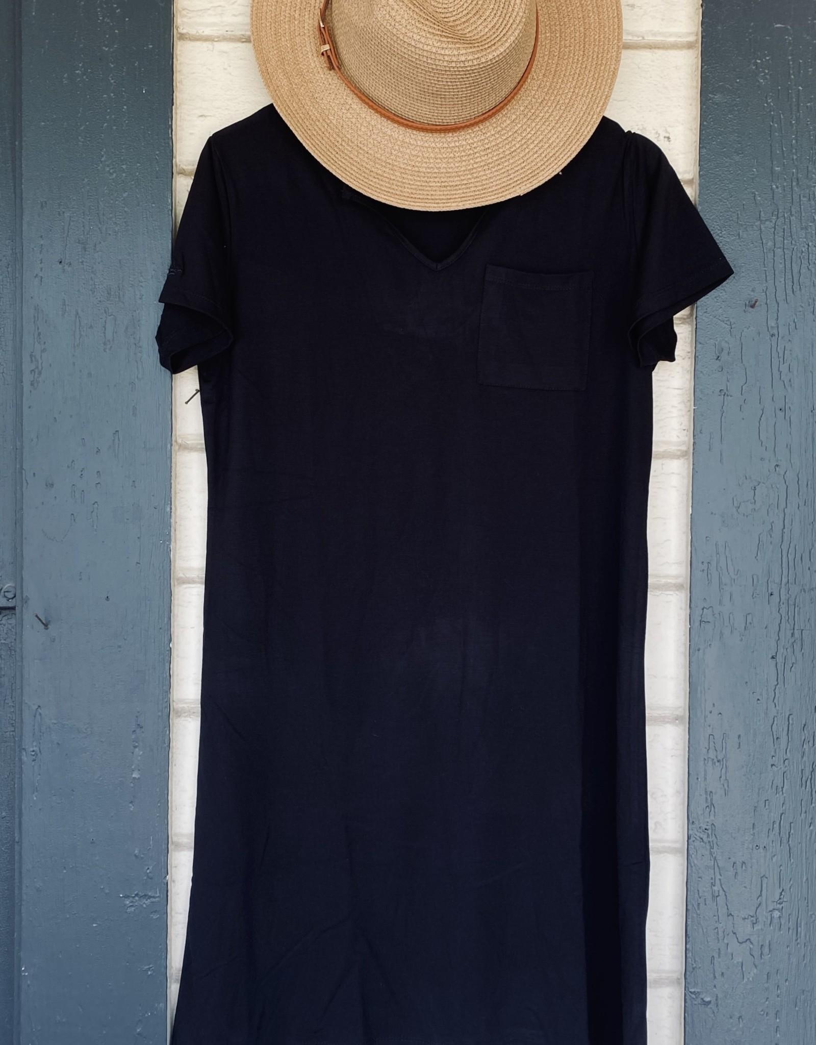 Black Classic Notch T-Shirt Dress