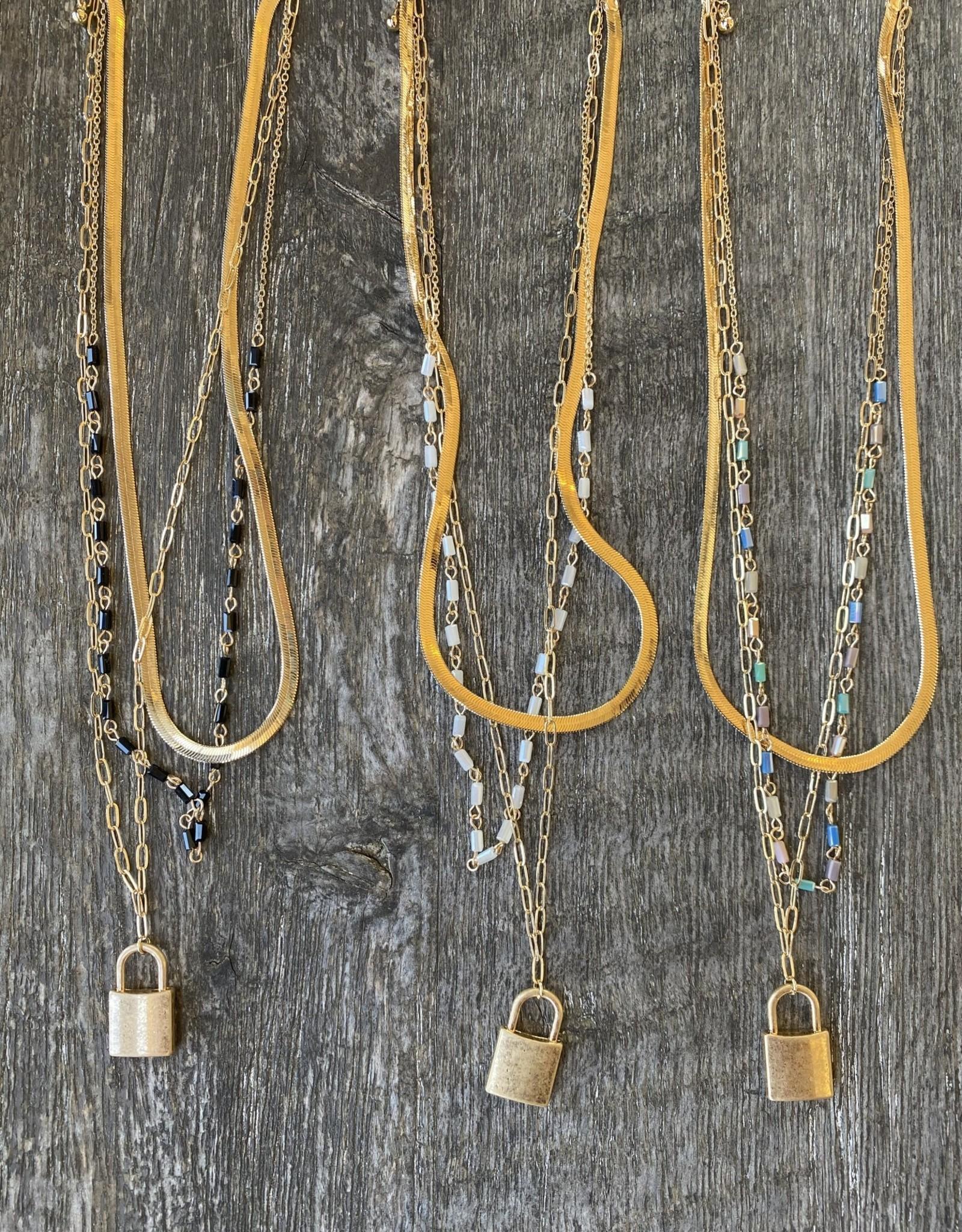 Wink Love Lock Multi Chain Necklace